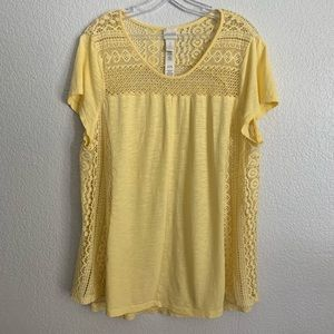 Chico's | Soft yellow crochet detail short sleeve